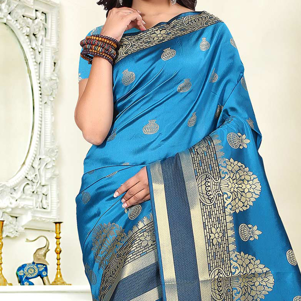 Beautiful Sky Blue Colored Festive Wear Woven Art Silk Saree