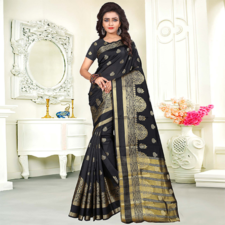 Flaunt Black Colored Festive Wear Woven Art Silk Saree