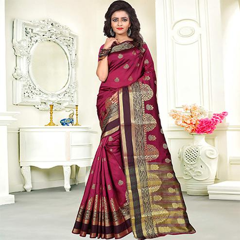 Groovy Magenta Colored Festive Wear Woven Art Silk Saree