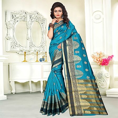 Glowing Sky Blue Colored Festive Wear Woven Art Silk Saree