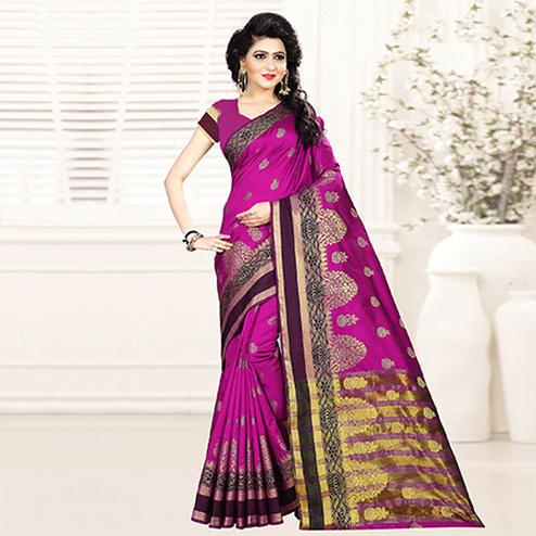 Mesmerising Rani Pink Colored Festive Wear Woven Art Silk Saree