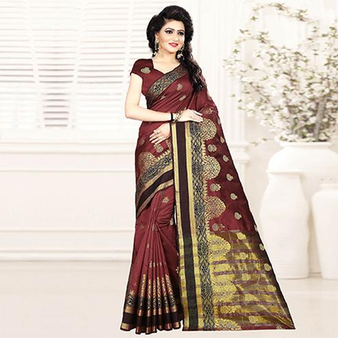 Stylish Brown Colored Festive Wear Woven Art Silk Saree