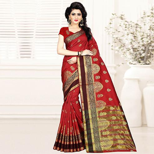 Trendy Red Colored Festive Wear Woven Art Silk Saree