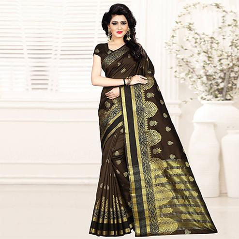 Dazzling Dark Brown Colored Festive Wear Woven Art Silk Saree