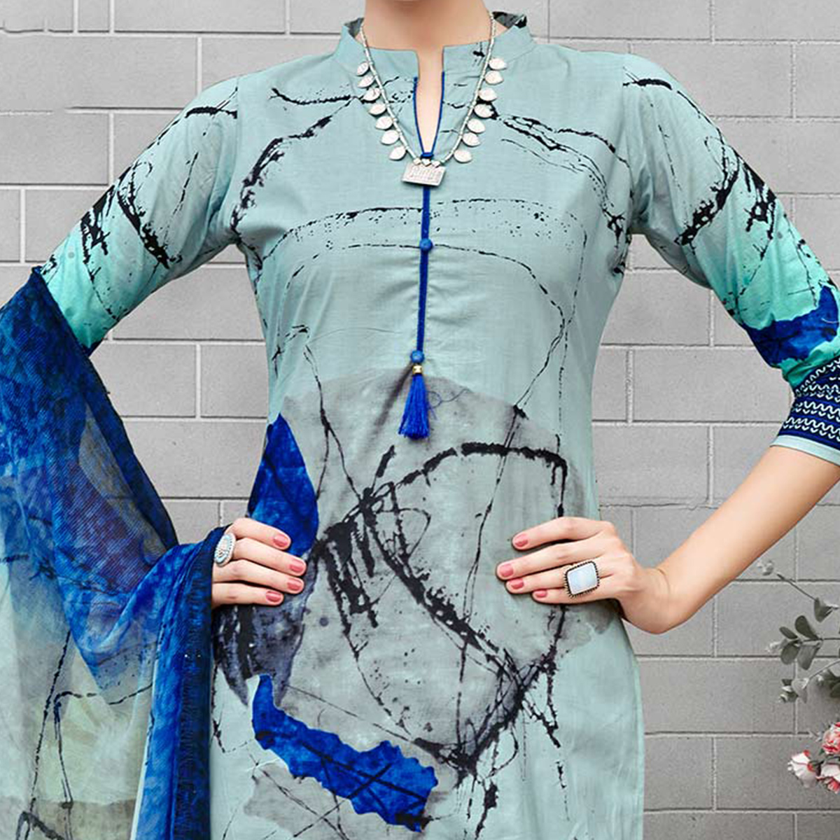 Turquoise Colored Casual Wear Printed Cotton Suit