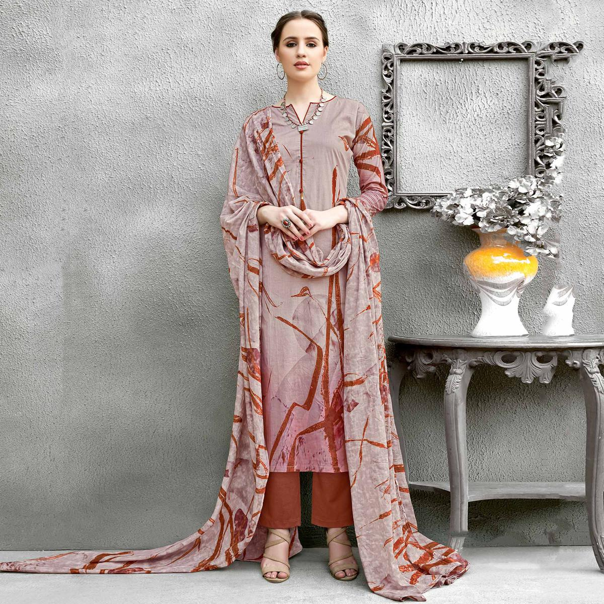 Light Brown Colored Casual Wear Printed Cotton Suit