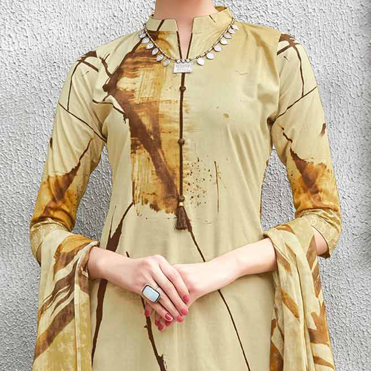 Beige Colored Casual Wear Printed Cotton Suit