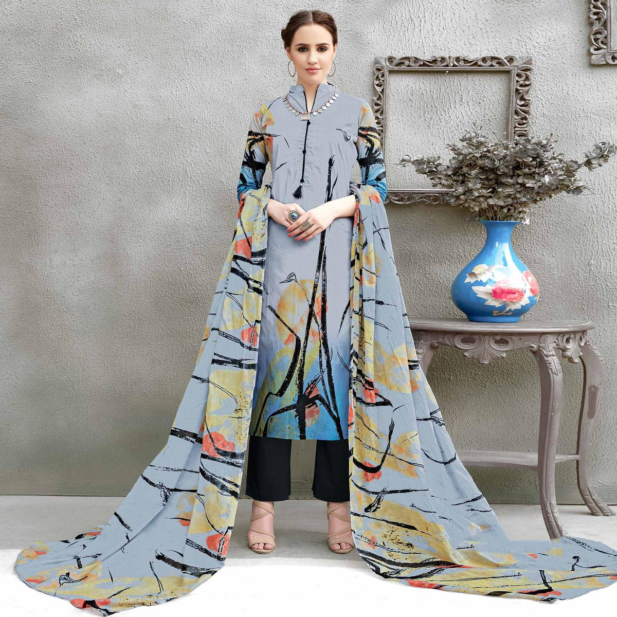 Grey Colored Casual Wear Printed Cotton Suit