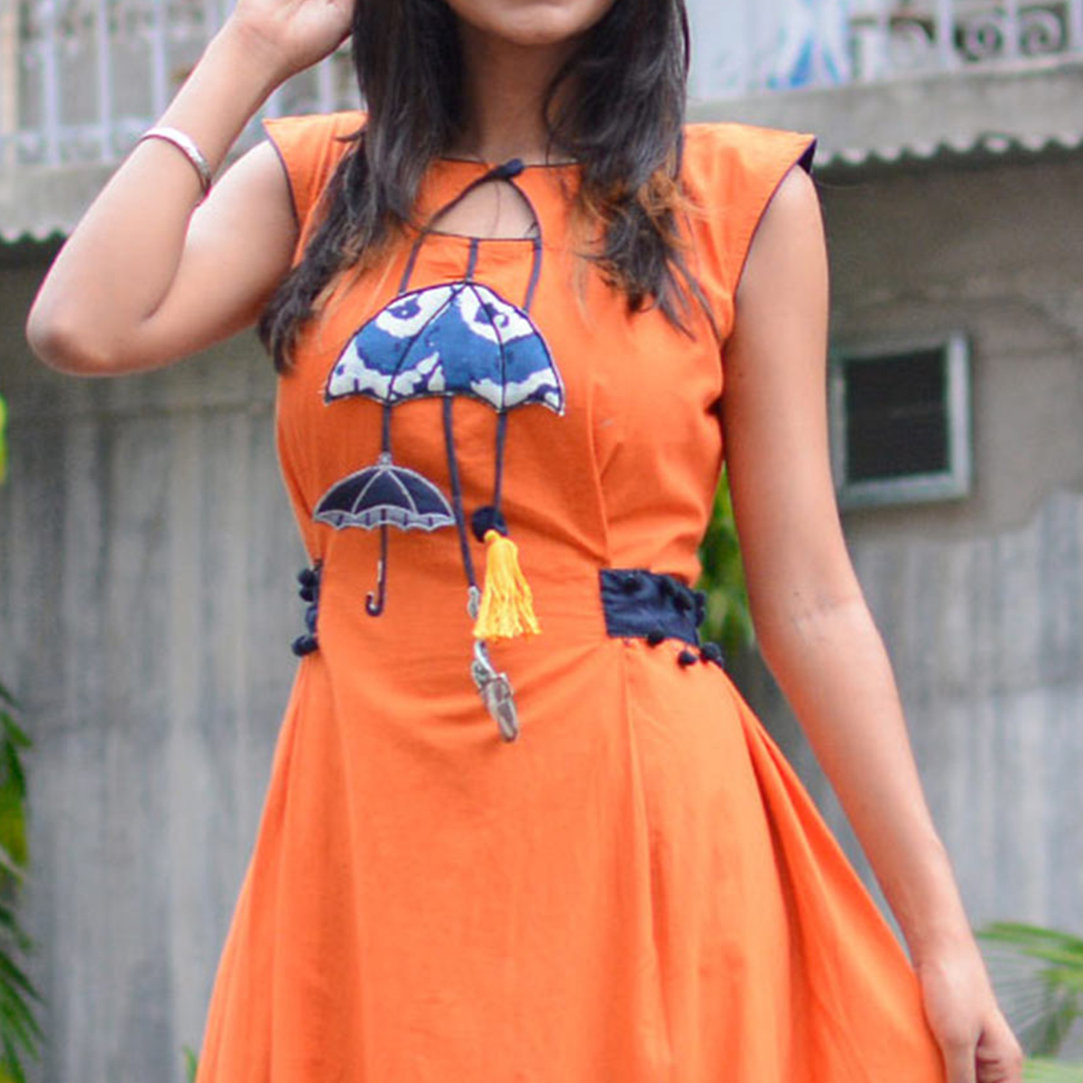 Beautiful Orange Cotton Designer Kurti