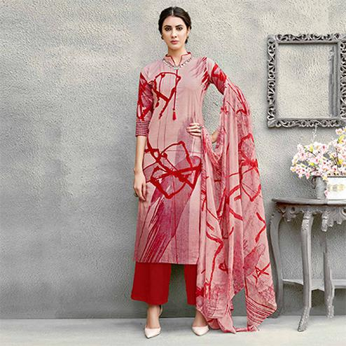 Pink Colored Casual Wear Printed Cotton Suit