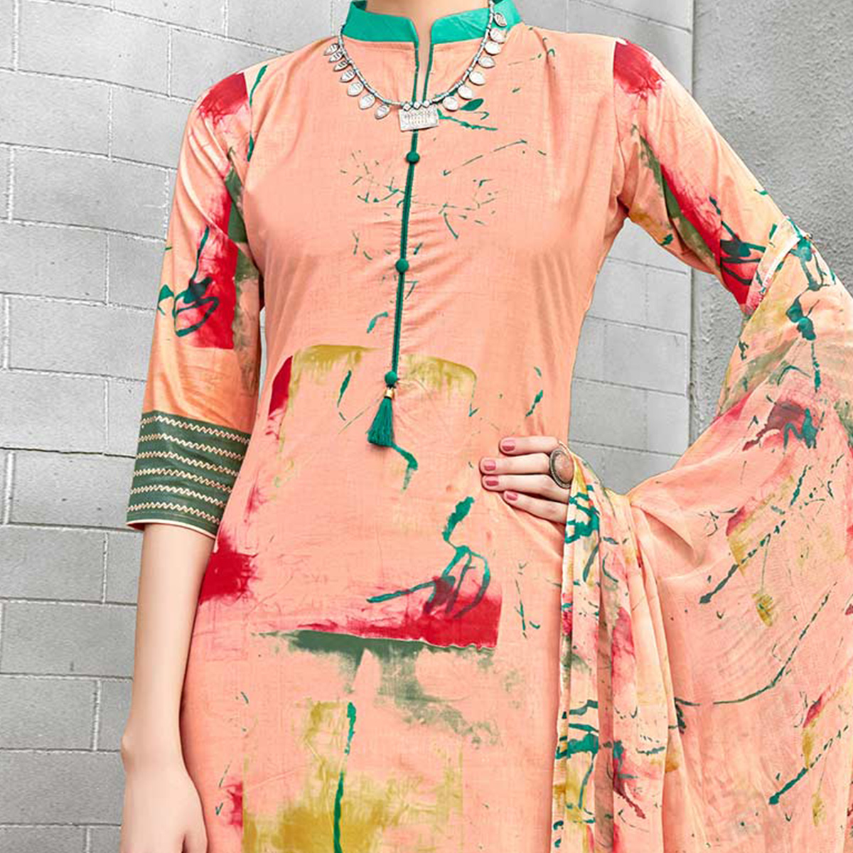 Peach Colored Casual Wear Printed Cotton Suit