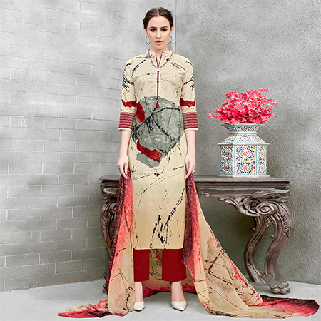 Cream Colored Casual Wear Printed Cotton Suit