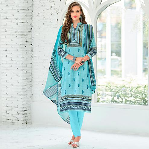 Sky Blue Colored Casual Wear Printed Cotton Satin Suit