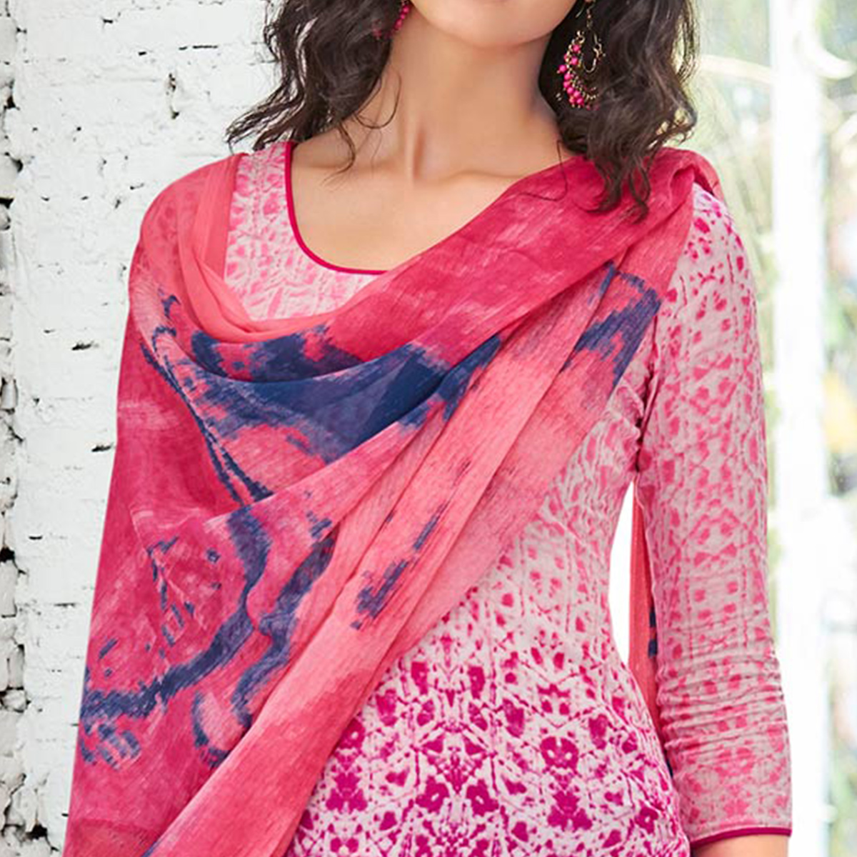 Pink Colored Casual Wear Printed Cotton Satin Suit