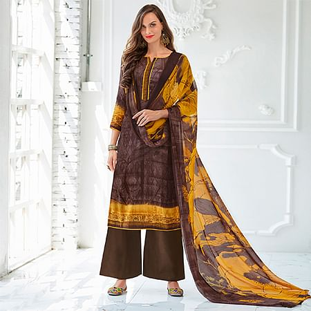 Brown Colored Casual Wear Printed Cotton Satin Suit