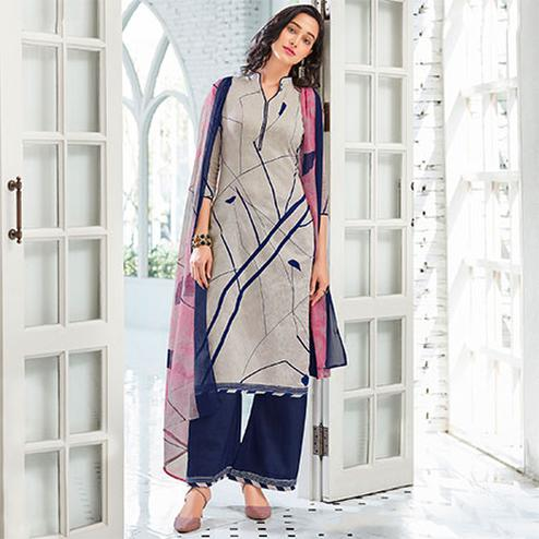 Grey Colored Casual Wear Printed Cotton Satin Suit