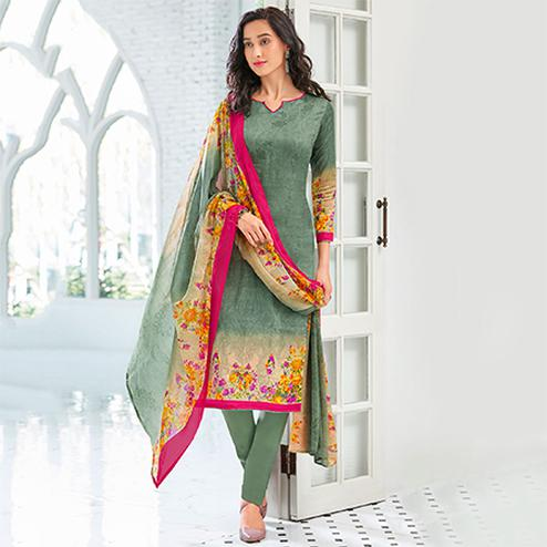 Olive Green Colored Casual Wear Printed Cotton Satin Suit