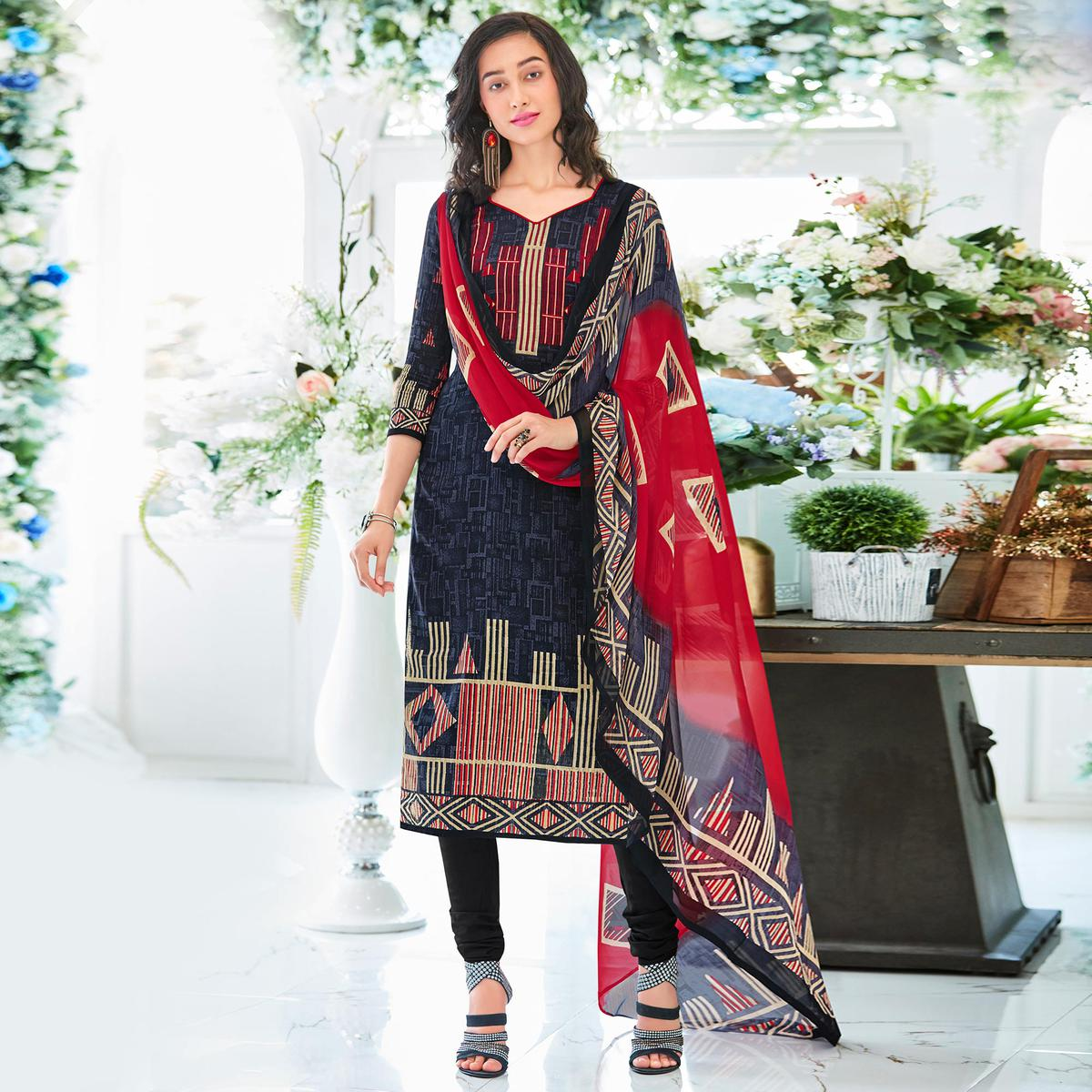 Blue Colored Casual Wear Printed Cotton Satin Suit