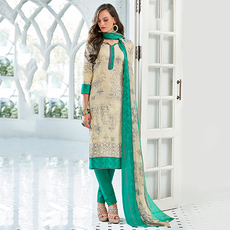 Cream Colored Casual Wear Printed Cotton Satin Suit