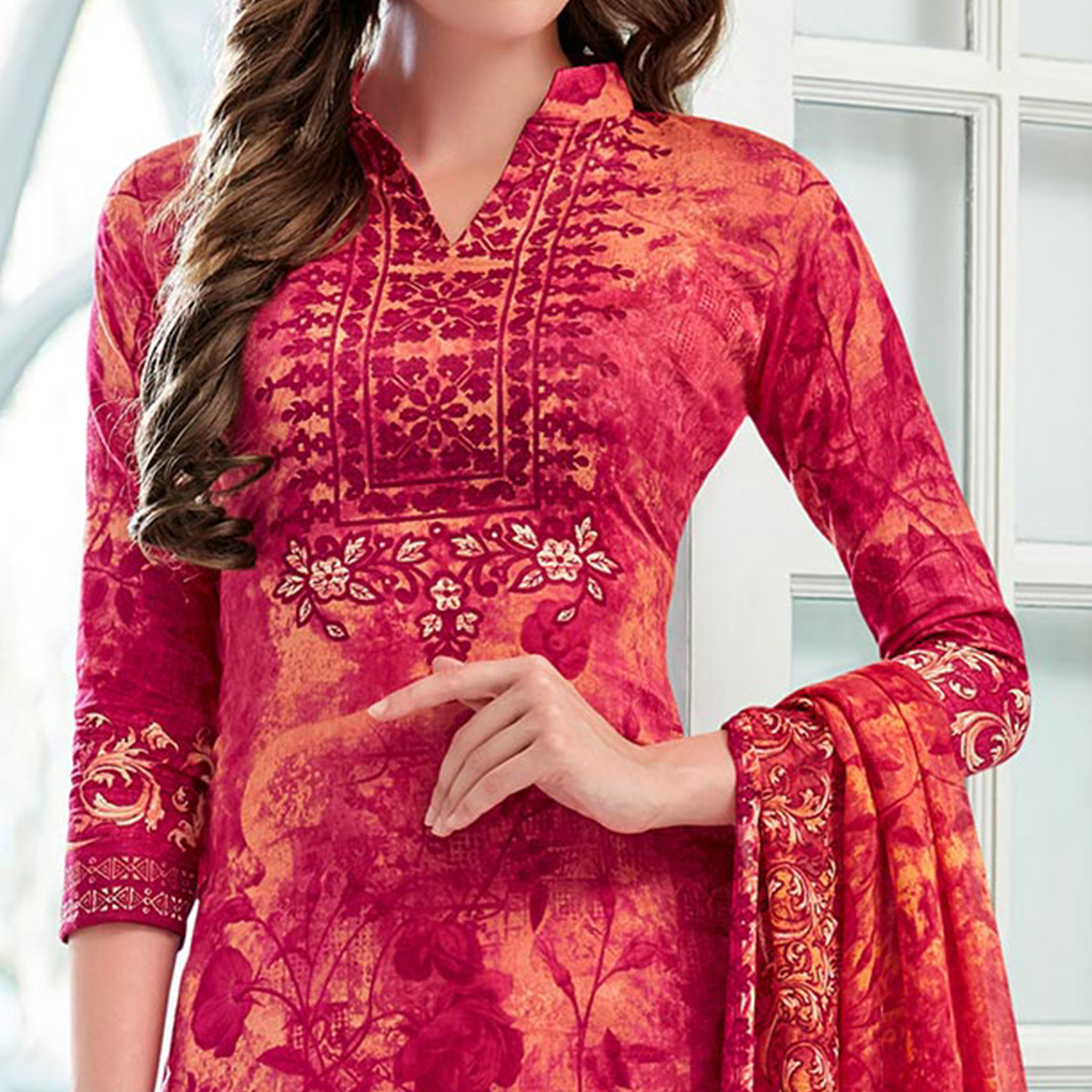 Red Colored Casual Wear Printed Cotton Satin Suit