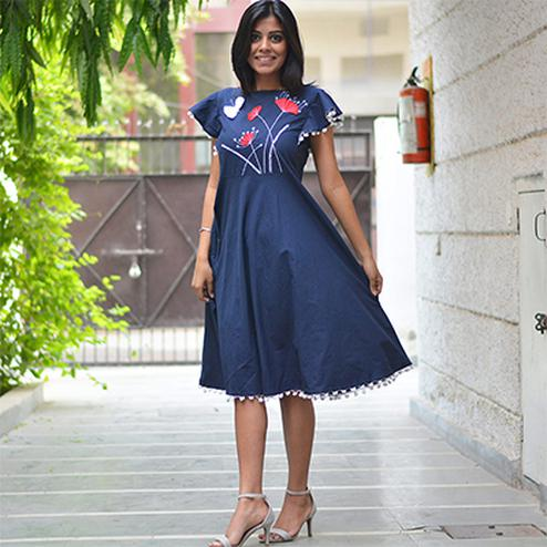 Majestic Blue Cotton Designer Kurti