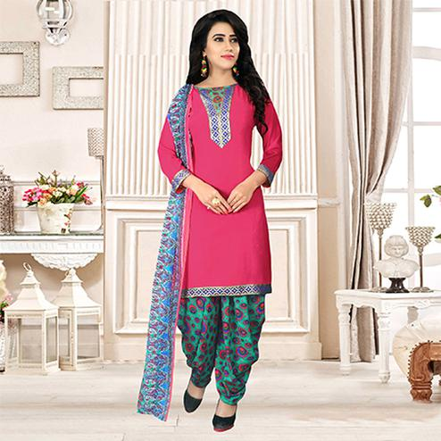 Pink Colored Party Wear Printed Crepe Patiala Suit