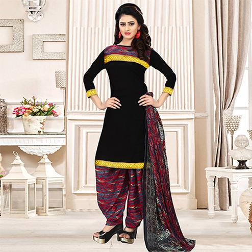 Black Colored Party Wear Printed Crepe Patiala Suit