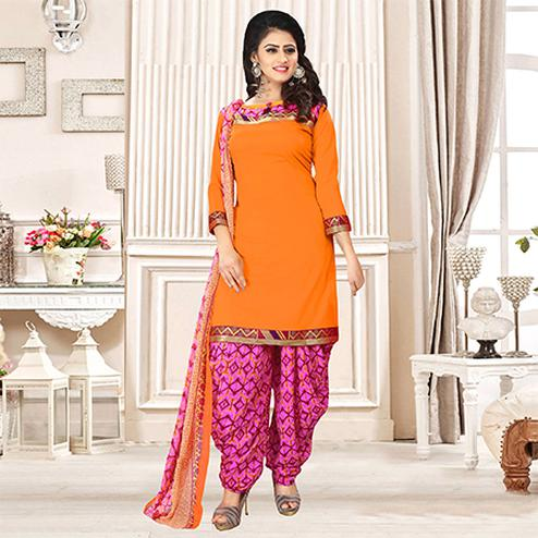 Orange Colored Party Wear Printed Crepe Patiala Suit