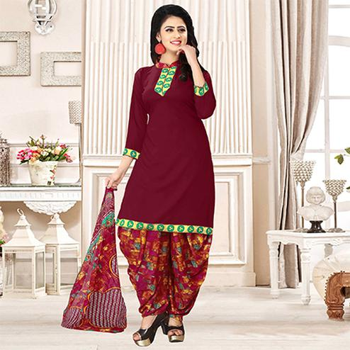Wine Colored Party Wear Printed Crepe Patiala Suit