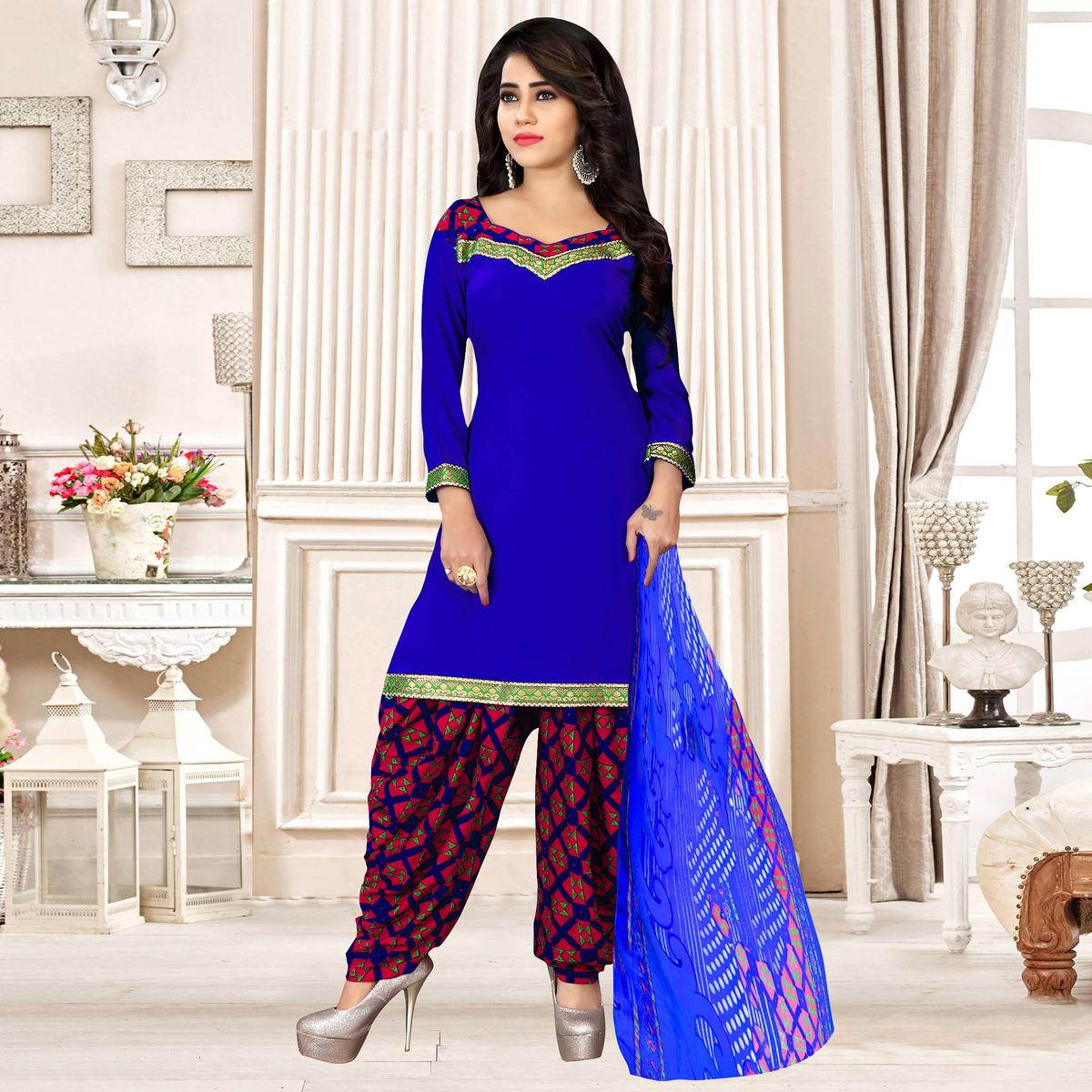 Royal Blue Colored Party Wear Printed Crepe Patiala Suit