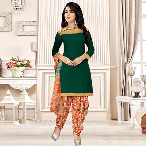 Green Colored Party Wear Printed Crepe Patiala Suit