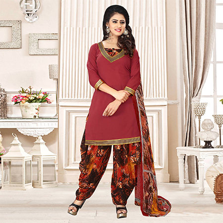 Maroon Colored Party Wear Printed Crepe Patiala Suit