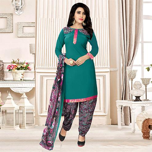 Rama Green Colored Party Wear Printed Crepe Patiala Suit