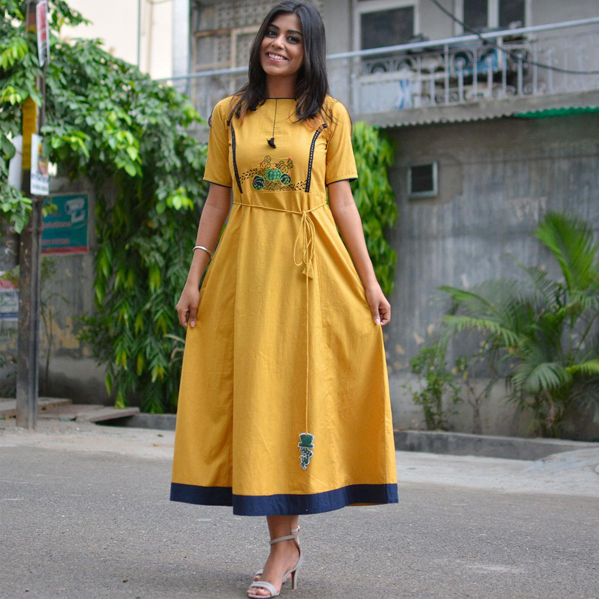 Exotic Yellow Cotton Designer Kurti