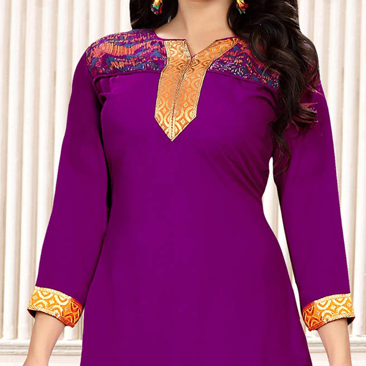 Purple Colored Party Wear Printed Crepe Patiala Suit