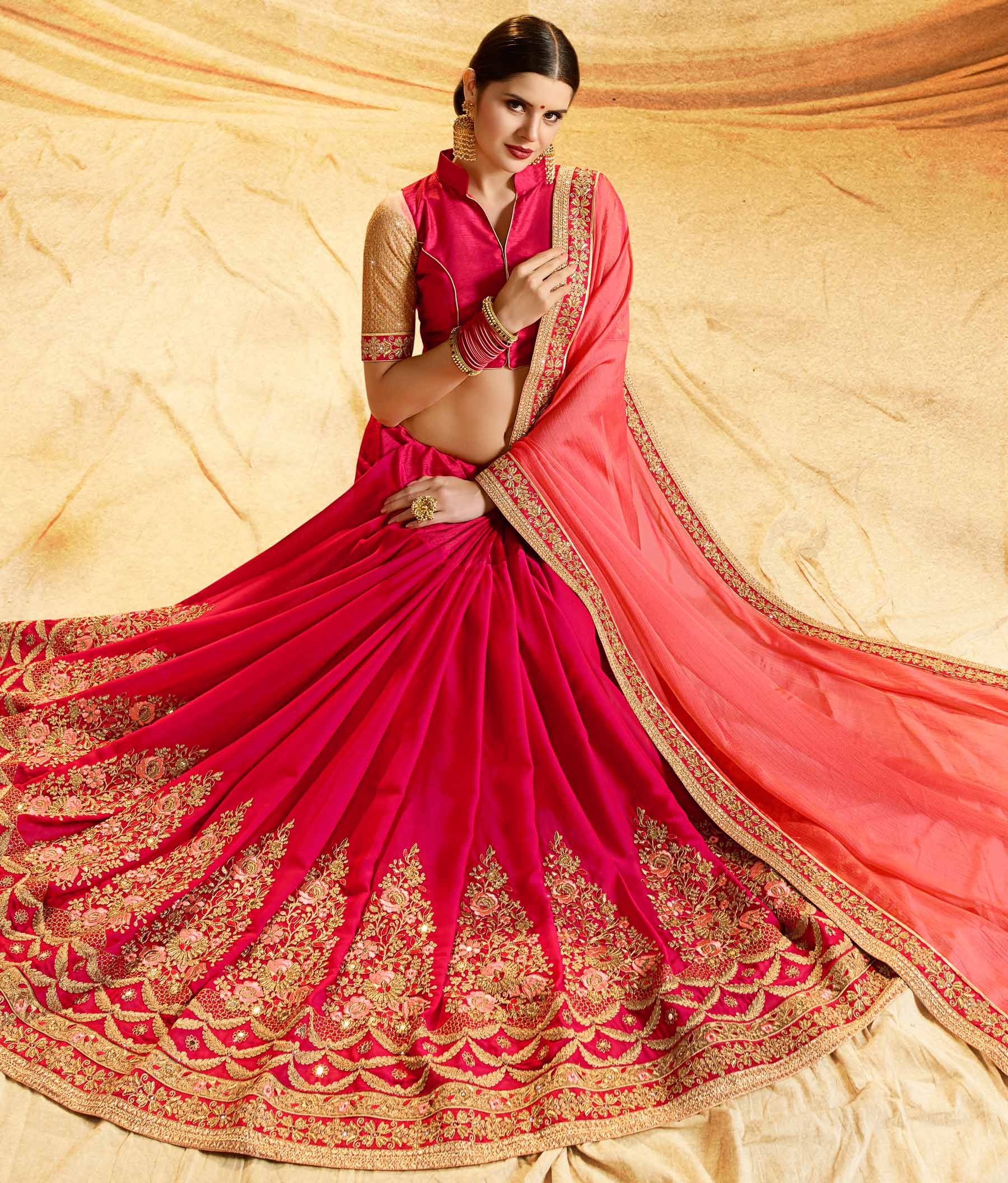 Adorable Red - Pink Colored Embroidered Work Party Wear Chiffon Saree