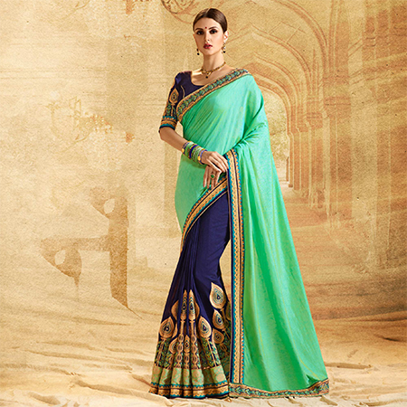 Attractive Blue - Sea Green Colored Embroidered Work Party Wear Jacquard Chiffon Saree