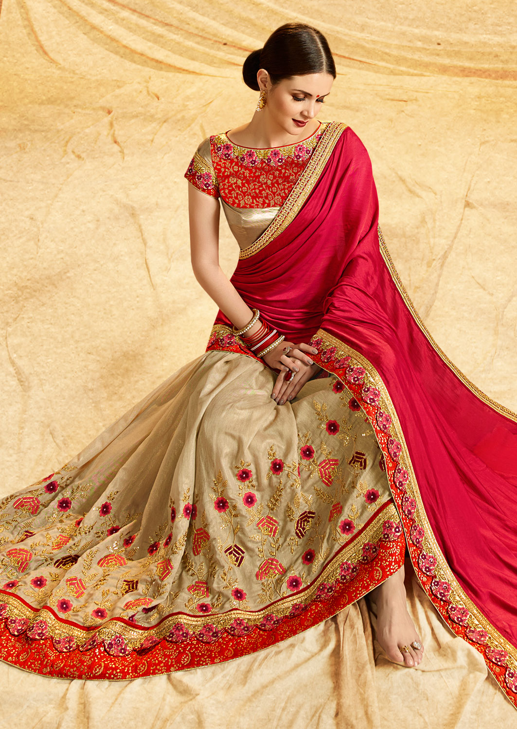 Beautiful Beige - Red Colored Embroidered Work Party Wear Crepe Chiffon Saree