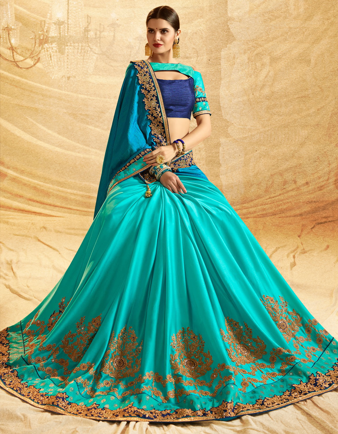 Gorgeous Turquoise Blue Colored Embroidered Work Party Wear Jacquard Chiffon Silk Saree