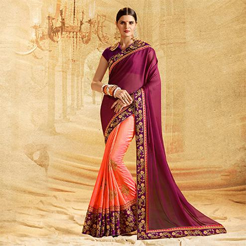 Classy Peach - Wine Colored Embroidered Work Party Wear Crepe Chiffon Saree