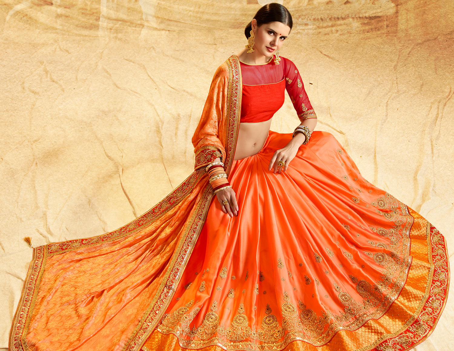 Glorious Orange Colored Embroidered Work Party Wear Banarasi Silk Saree