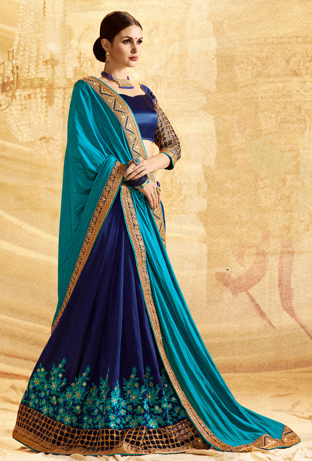 Graceful Shaded Blue  Colored Embroidered Work Party Wear Jacquard Paper Silk Saree