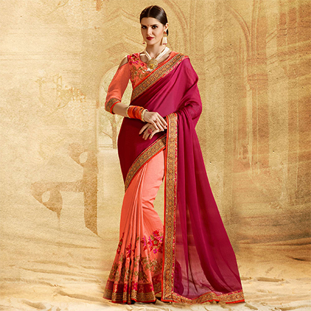 Charming Peach - Red Colored Embroidered Work Party Wear Chiffon Saree