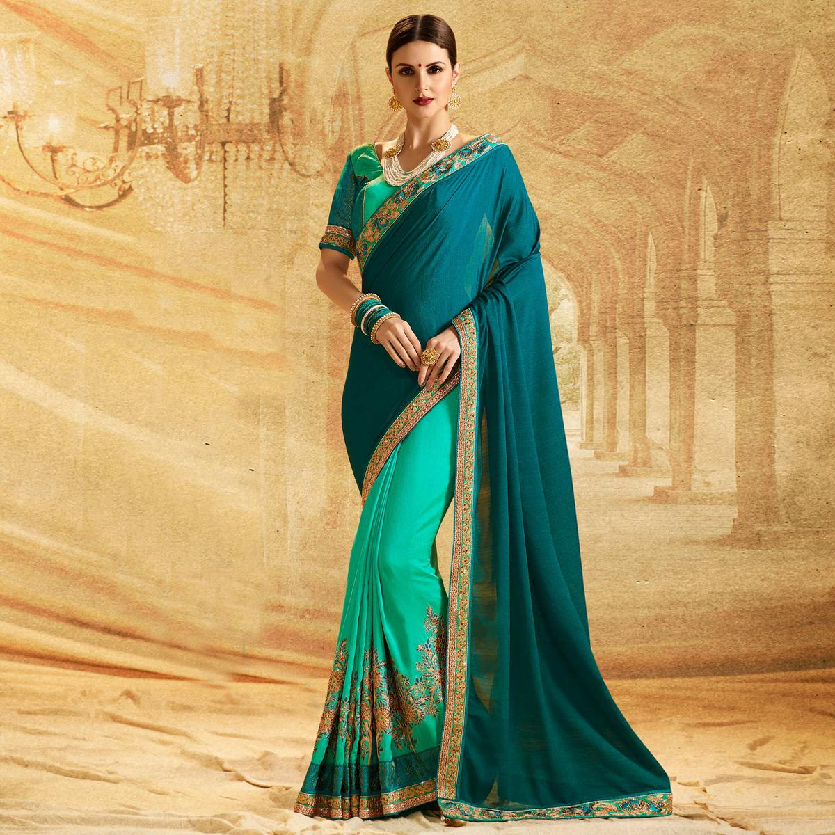 Ravishing Sea Green - Stone Blue Colored Embroidered Work Party Wear Chiffon Saree