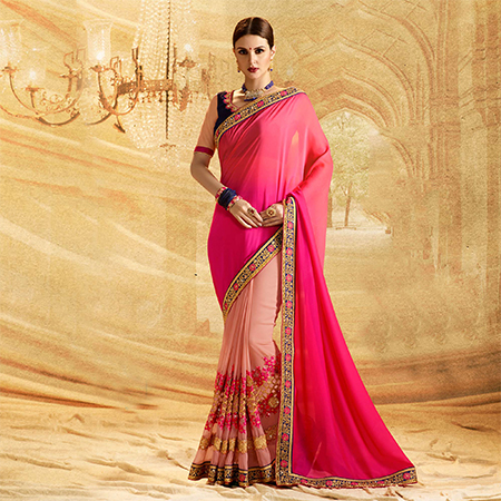 Delightful Peach - Pink Colored Embroidered Work Party Wear Georgette Saree