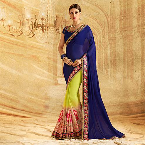 Stunning Light Green - Blue Colored Embroidered Work Party Wear Georgette Saree