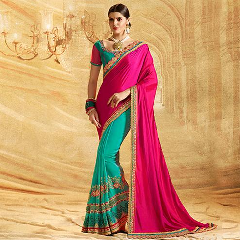 Marvellous Firozi Green - Pink Colored Embroidered Work Party Wear Crepe Chiffon Saree