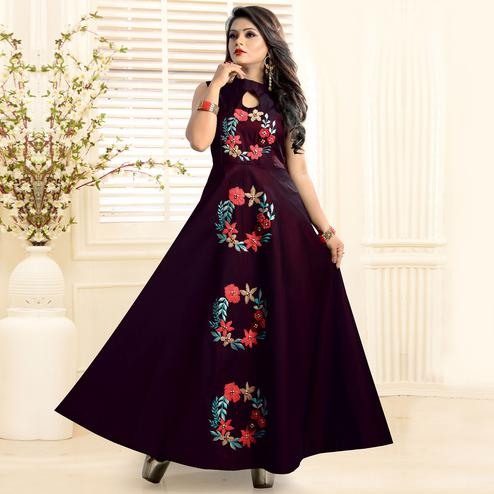 Mesmerising Wine Colored Partywear Embroidered Twill Tapeta Gown