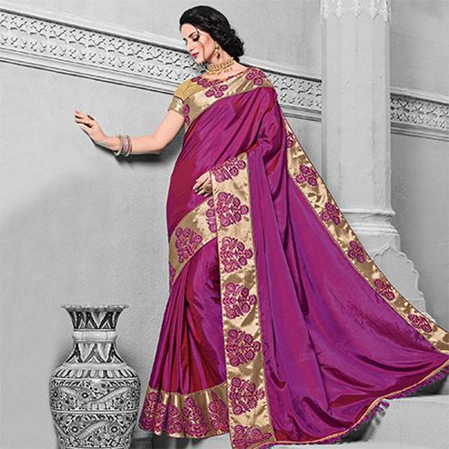 Intricate Magenta Colored Designer Embroidered Partywear Two Tone Silk Saree
