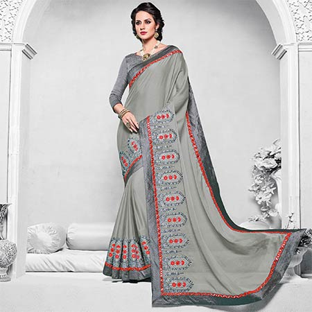 Pleasant Grey Colored Designer Embroidered Partywear Georgette Saree